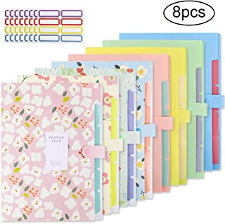EOOUT 8pcs Expanding File Folders, Plastic Accordion Document Organizer with 5 Pockets Snap Closure, for US Letter and A4, with 64 Labels Stickers