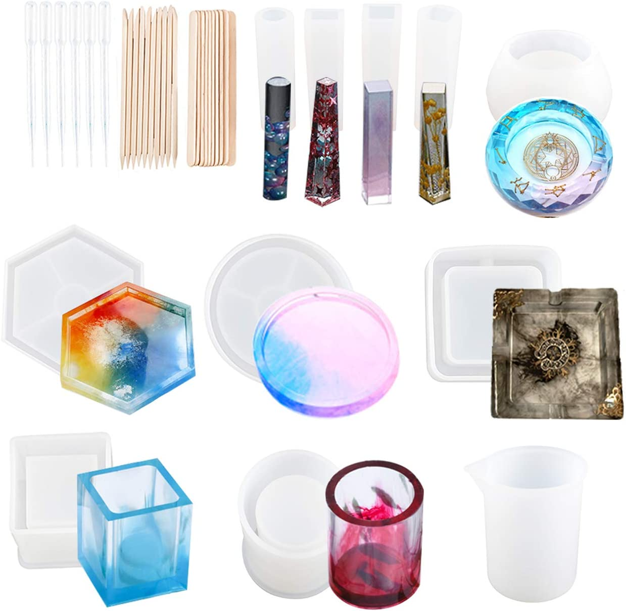 Free Shipping New Toolly 37Pcs Special price for a limited time Silicone Molds Art Resin Casting Epoxy