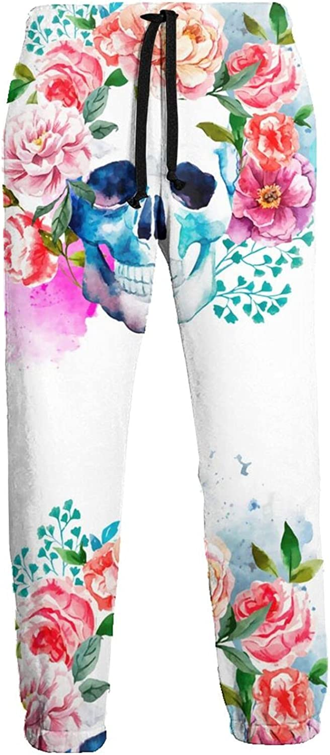 Mens Jogger Sweatpants Smiling Skull Head with Flowers Lightweight Workout Athletic Joggers Pants Trousers