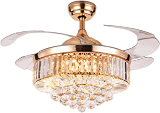 SenHome 42 inch Rose Gold Crystal Ceiling Fan Light LED Chandelier Crystal Acrylic Retractable Blade Ceiling Lamp Suitable for Living Room/Dining Room/Hall