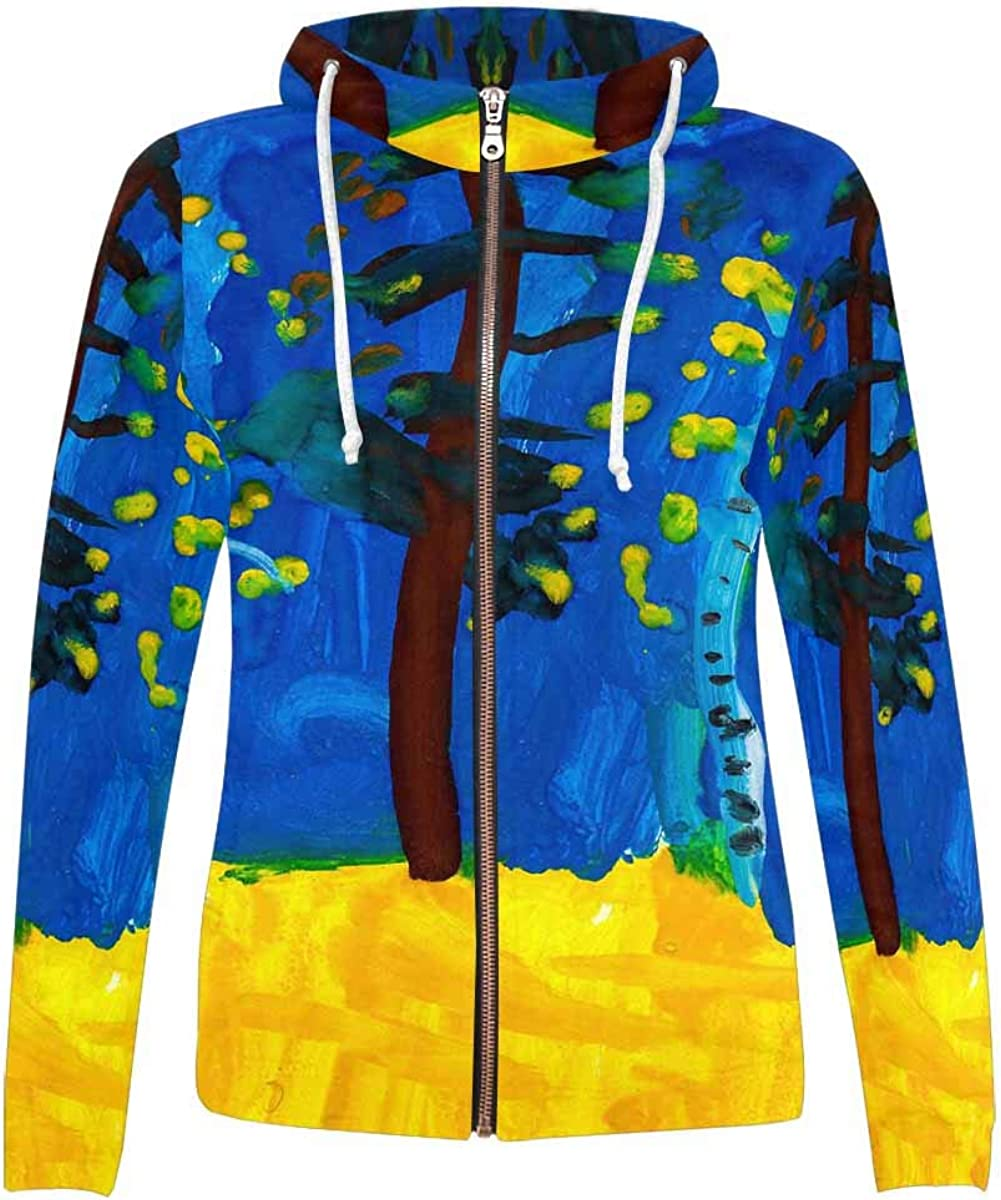 InterestPrint All Over Print Polyester Detroit Mall Pock Hoodie Fort Worth Mall Full with Zip