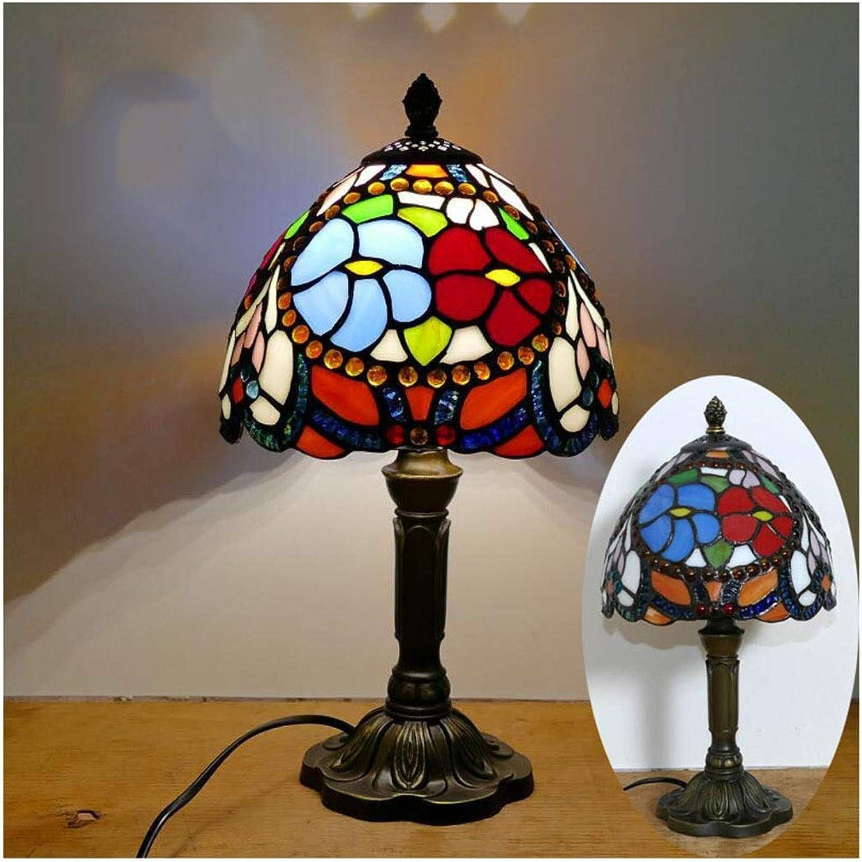 YYF Europische retro rote und blaue Blaume Tischlampe - Glas im mediterranen Stil 8 Zoll (20 cm)