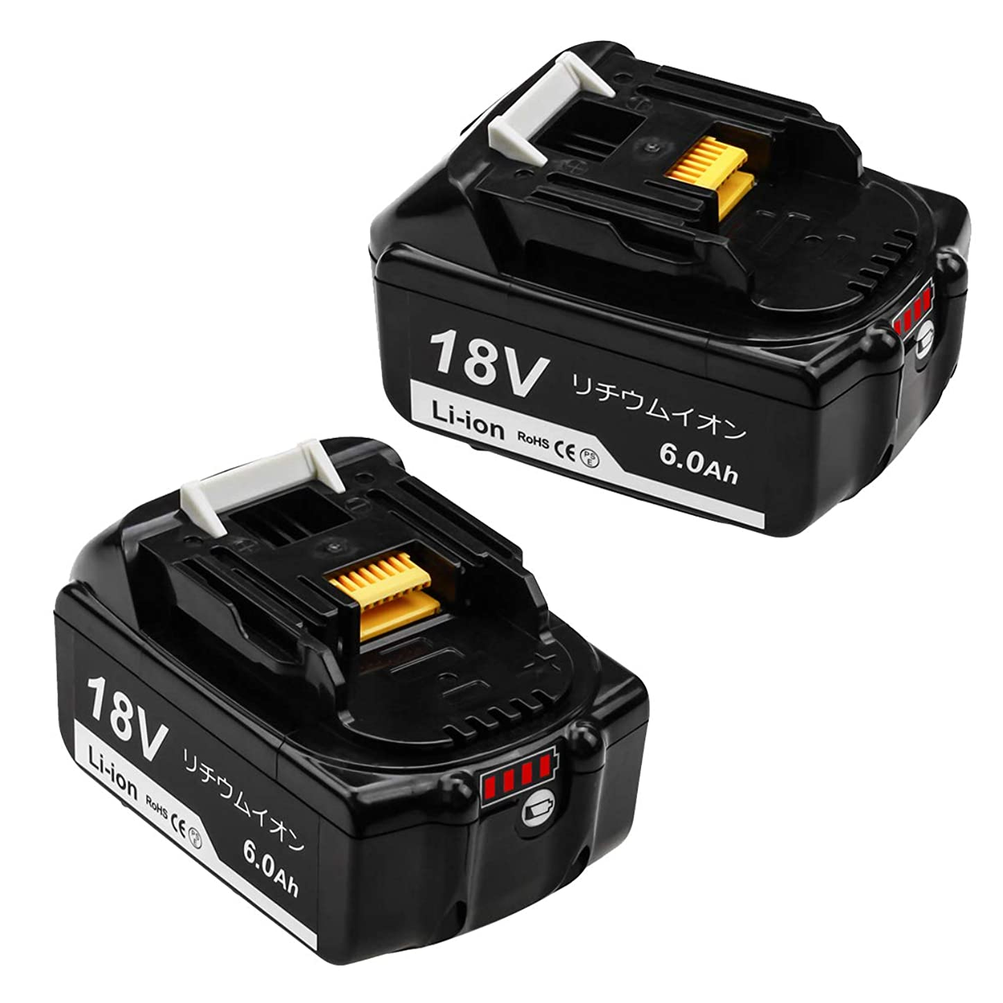 庭園の間に無限大Gatopower マキタ 18v バッテリー bl1860b マキタ バッテリー18v マキタ 6.0Ah バッテリー マキタ 互換バッテリーBL1830 BL1840 BL1850 BL1860 BL1830b BL1840b BL1850b BL1860b マキタ 18v 互換バッテリー6000mAh 18vマキタバッテリー リチウムイオン 電動工具用 LED残量表示+自己故障診断搭載 一年品質保証 「2個セット 」