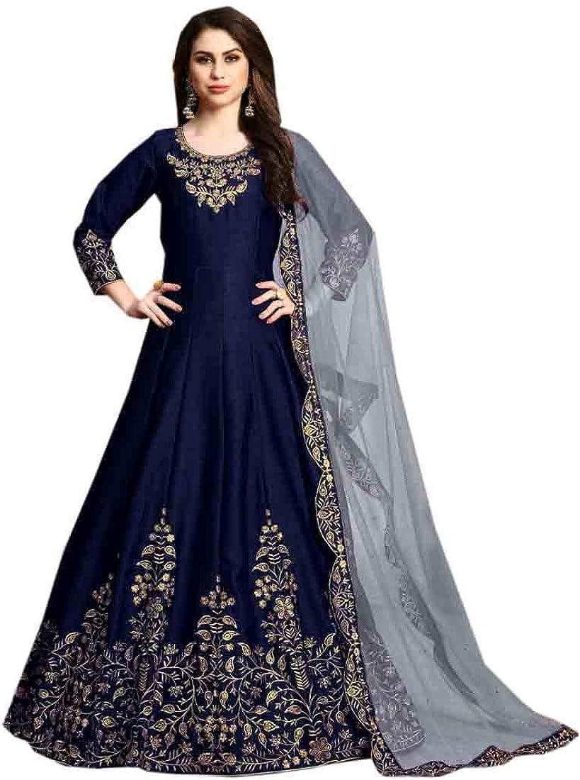 Art Silk Simple Light Work Indian Muslim Eid Long Party Anarkali Suit ready to Wear Women Gown 901/E