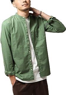 [ チャオ ] ciao オックスフォード バンドカラー 長袖 シャツ ショート丈 メンズ 綿100% 55-811