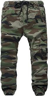 Boys Pull On Drawstring Jogger Pants Camo Print Cuff Jogging Bottoms