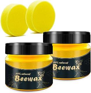 jillbang Beewax-Möbelpflege Bienenwachs,Poliermittel für Holz und Möbel, Natürliche Holzpflege Bienenwachs Wasserdicht Abriebfest 2X 85g mit 2 Schwamm