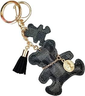 Leather Tassel Bear Keychain, Baby Bear Keychain Key Chain Rings for Women Girls
