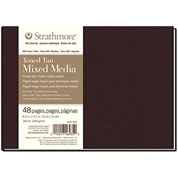 """Strathmore 469-305 Hardbound Mixed Media Art Journal, 8.5"""" x 5.5"""", Toned Tan, 48 Pages"""
