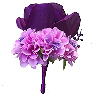 WeddingBobDIY Boutonniere Buttonholes Groom Groomsman Best Man Rose Wedding Flowers Accessories Prom Suit Decoration Purple