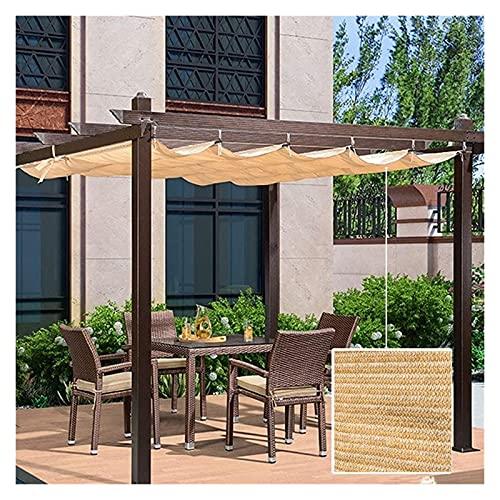 XJJUN Ausziehbare Schattenabdeckung, Schiebedraht Wave Shade Segel Anti-Ultraviolett-Kühlung Außenrollo Für Gartenterrasse Pergola (Color : Beige, Size : 1.3x5m)