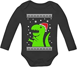 Big Green Trex Santa Ugly Christmas Sweater Grow Vest Baby Long Sleeve Bodysuit