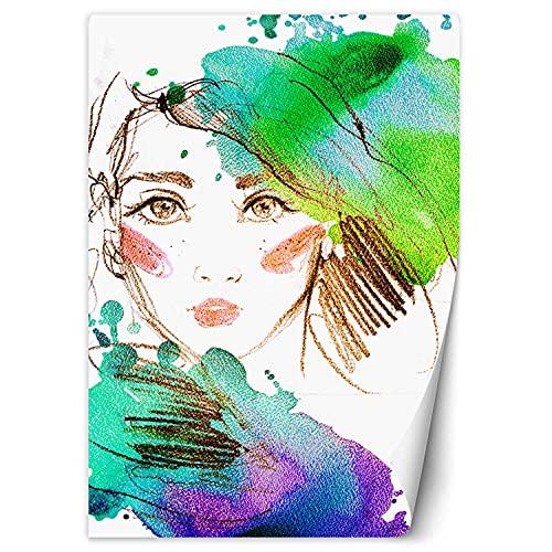 Feeby Mural De Pared Retrato De Una Mujer Boceto 100x140 cm Multi Tejido No Tejido Decorativos Murales Dormitorio Oficina Salon Restaurante Acuarela Abstracto