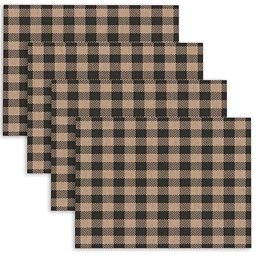 Douecish Halloween Placemats,Washable Herringbone Gingham Pixel Plaid Pattern in Amp Grey Textile Beige Table Placemats for Kitchen,Dining Table,Dining Room,18X12,Set of 4