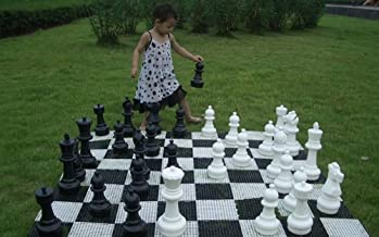 MegaChess Large Premium Chess Set with 12 Inch Tall King Black and White with Hard Plastic Chess Board