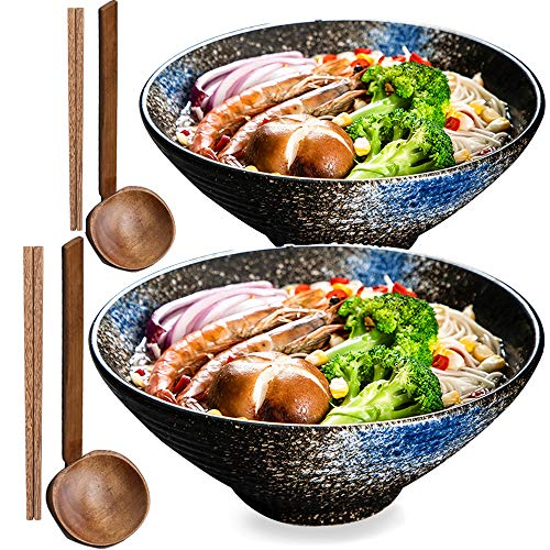 2 sets (6 stuks) porseleinen kommen, slakommen voor de thuiskeuken, Japanse ramen soepkommen, mengkommen, serviesgoed (met eetstokjes en een lepel) sterblauw