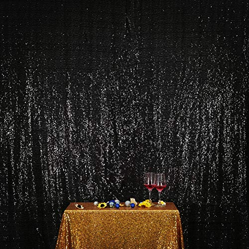 SquarePie Sequin Backdrop 8FT x 8FT Black Curtain Background for Wedding Party Christmas
