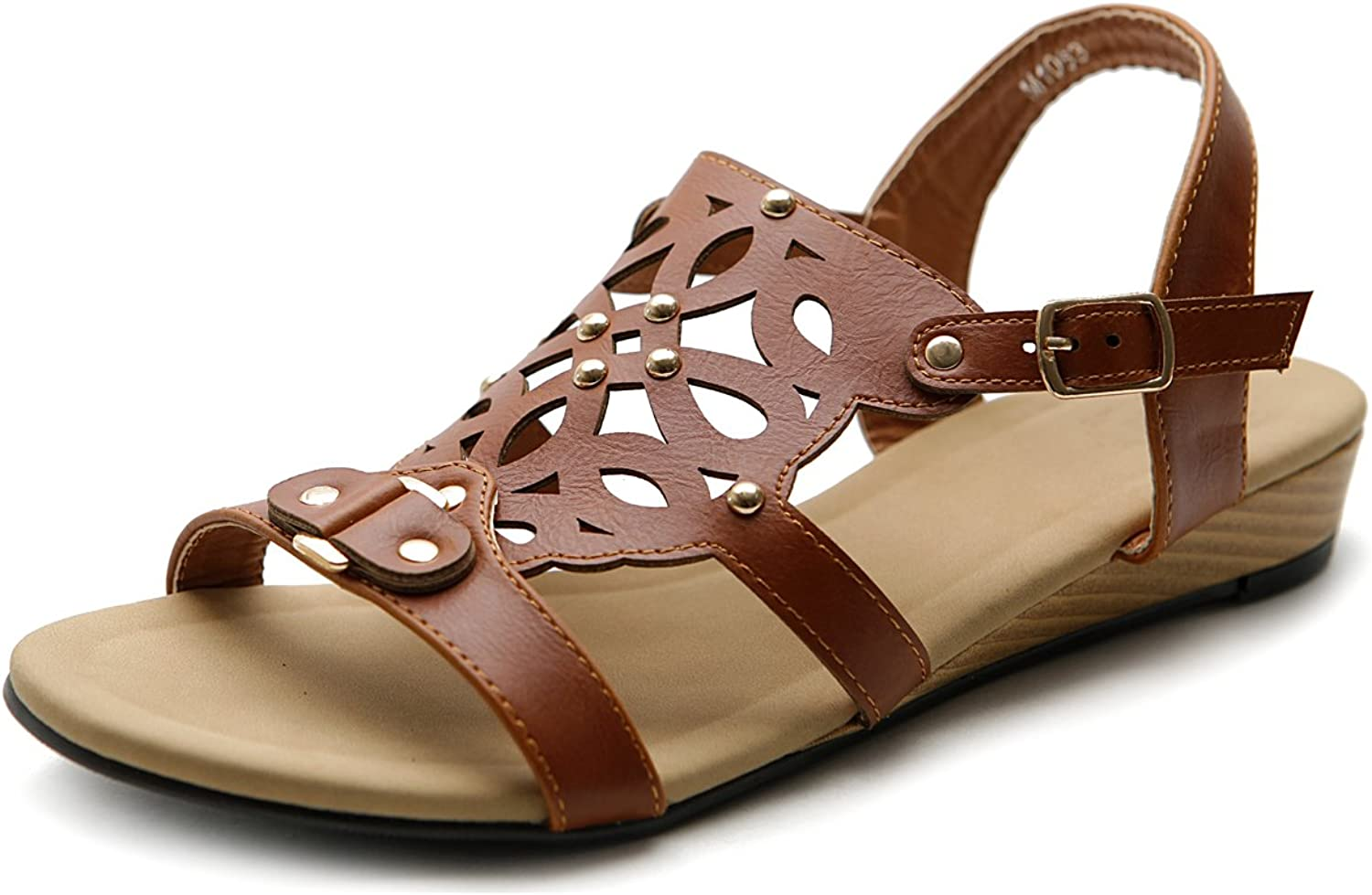 Ollio Women's shoes Cut Out Strappy Low Heel Wedge Sandal