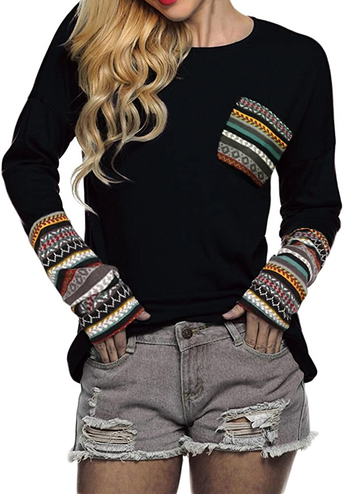POGTMM Women's Fall Long Sleeve T-Sh price Basic Patchwork O-Neck Max 71% OFF Tops