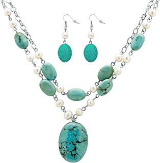 Silver Tone Genuine Cultured Freshwater Pearl and Oval Genuine Green Turquoise, Necklace and Earring Set, 17 inches Plus