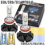 日産 ホンダ 最新版 H8 H9 H11 H16 共用 X3 12000 ルーメン LED ヘッドライト フォグランプ キット50W 6500K 車検対応 2500K-8000K フイルム付 2個セット 1年保証 12V.24V共用 ブラガ
