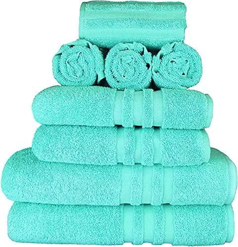 Juego de toallas (8 piezas) con 2 toallas de baño / toallas de ducha de 70 x 140 cm, 2 toallas de mano de 50 x 100 cm y 4 toallas de invitados de 30 x 50 cm, 100% algodón turco, 500 g/m².