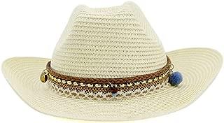 Hats New Summer Women Beach Cowboy Hat Sun Hat Visor Fedora Hat Hair Ball Fashion Tassel Color Straw Hat Women Fashion (Color : Beige, Size : 56-58CM)