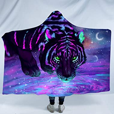 Designer Creative 3D Colorful Dream Tiger Series Wild Animal Printing Luxuy Thickened Hypoallergenic Sherpa Fleece Blanket Ultra Soft and Warm Winter TV Computer Throwing Blanket for Adults & Kids