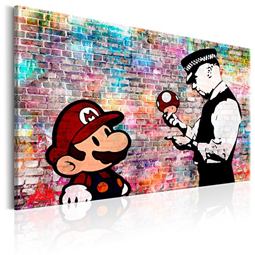 murando - Bilder Banksy Super Mario Mushroom Cop 120x80 cm Vlies Leinwandbild 1 TLG Kunstdruck modern Wandbilder XXL Wanddekoration Design Wand Bild - Street Art Graffiti Urban i-C-0100-b-a