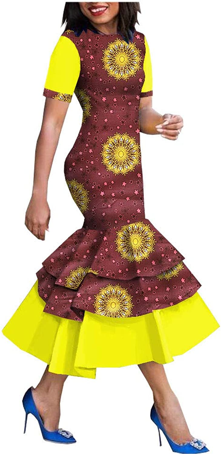 African Ankara Print Women Dress Short Sleeve MidCalf Length 3 Layers Trumpet 100% Batik Cotton Made AA1825080
