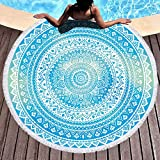 Bonsai Tree Mandala Round Beach Towel, Indian Hippie Boho Extra Large Sand Proof Beach Blanket, Circle Meditation Yoga Mat with Tassels 59'
