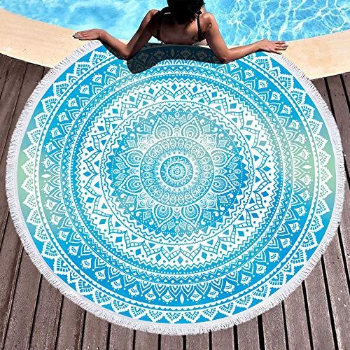Bonsai Tree Mandala Round Beach Towel, Indian Hippie Boho Extra Large Sand Proof Beach Blanket,...