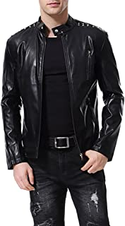 AOWOFS Men's Faux Leather Jacket Slim Fit Motorcyle Punk Lightweight Collarless Coat