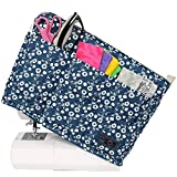 Everything Mary Deluxe Quilted Fabric Sewing Machine Cover, Blue Floral - Covers Singer, Brother & Most Standard Machines - Protective Dust Case Bag with Storage Pockets for Needles & Accessories