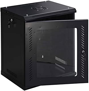 Safstar Wall Mount IT Network Server Cabinet Enclosure Data Devices Rack (12U, Tempered Glass Type 2)
