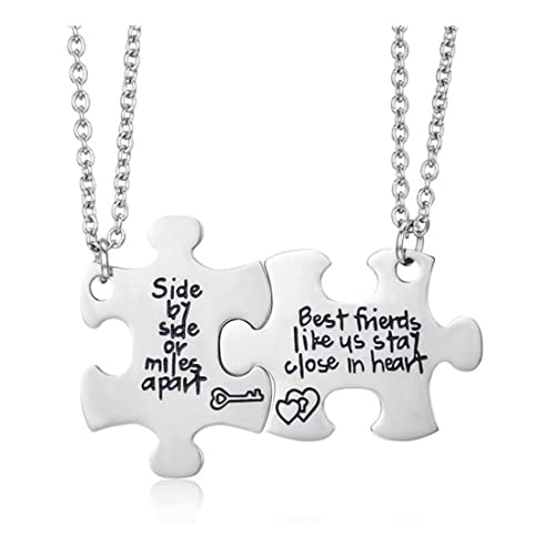 129f767f6ad9 Udobuy2 Pcs Best Friends Side By Side Or Miles Apart Best Friend Necklaces  Set Heart Best