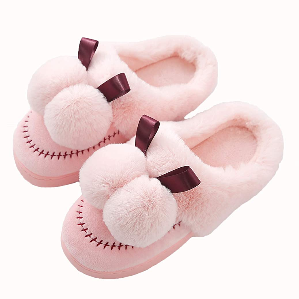 スズメバチ期待してスリッパ冬のコットンレディーススリッパ暖かいアンチスリップ漫画家の靴コンフォートソフトピンクの室内寝室のスリッパ