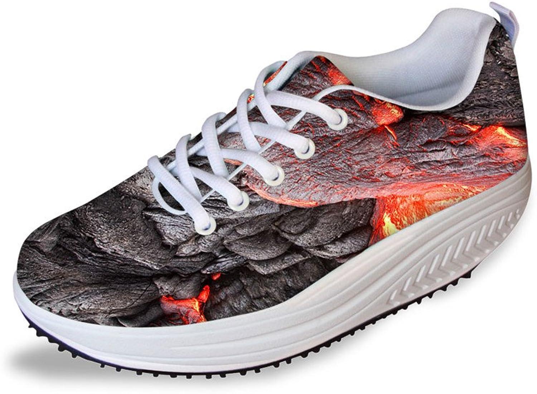 ThiKin Novelty Magma Print Womens Casual Platform Walking shoes