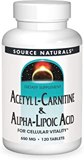 Source Naturals Acetyl L-Carnitine & Alpha-Lipoic Acid 650mg- 120 Tablets