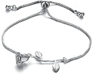 Fashion Red Rose Chain Bracelet Charm for Women Simple Temperament Flower Bracelet Link Ornaments Jewelry