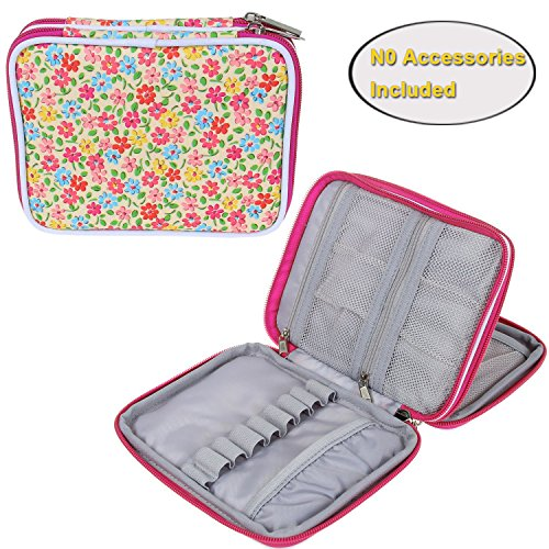 Teamoy Crochet Hook Case, Organizer Zipper Bag with Web Pockets for Various Crochet Needles and Knitting Accessories, Well Made, Small Volume and Easy to Carry, Yellow Flowers(No Accessories Included)