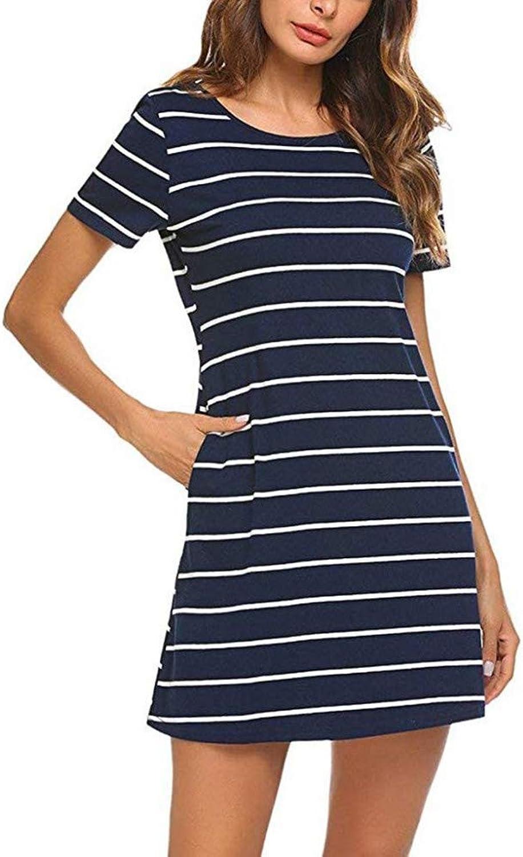 MBSDDH Dress Women's Robe Casual Striped Girl Cross Short Sleeve Dress bluee