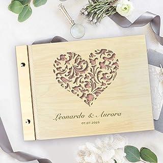Guestbook matrimonio, in legno, personalizzato, il cuore, album famiglia per foto, idea regalo per gli anniversari, festa ...