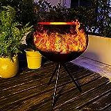 Larger Solar Lantern Outdoor Decorative, Waterproof Flickering Flame Solar Floor Lamp Metal Solar Powered Table Lantern for Garden, Deck, Yard, Patio Decor