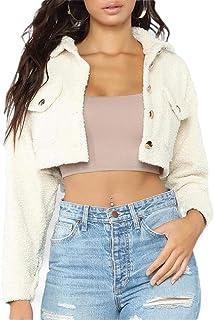 Macondoo Women Fashion Button Down Cropped Plush Cardigan Coat Jacket