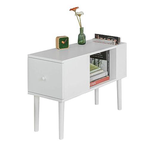 SoBuy® FBT60-W Bout de Canapé Table Café table d'appoint porte magasine porte revues avec 1 tiroir, 1 compartiment ouvert et 1 porte magasine de côté– Blanc