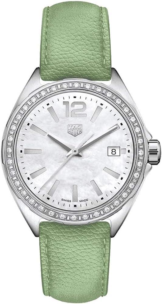 Tag heuer formula 1, orologio per donna, in acciao, ghiera decorara con 36 diamanti ,cinturino in pelle WBJ131A.FC8249