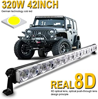 LED Light Bar 42inch 320W,LEADTOPS Single Row Driving Light CREE LEDs 8D Lamp Cup off Road Lights for Jeep, Cabin, Boat, SUV, Truck, Atv, Driving Lights,2 Years Warranty