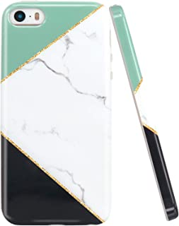 JAHOLAN iPhone 5 Case, iPhone 5S Case Geometric Marble Design Clear Bumper Slim TPU Soft Rubber Silicone Cover Phone Case for iPhone 5 5S SE - White Mint Green