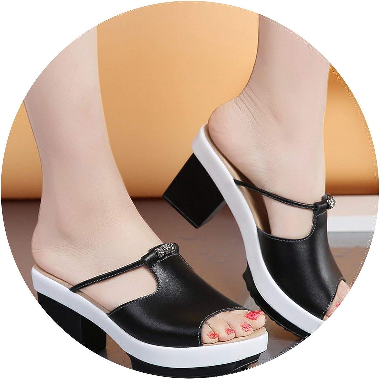 Summer-lavender Genuine Leather Women Slippers Platform High Heels shoes Fashion Slides Natural Leather Sandals